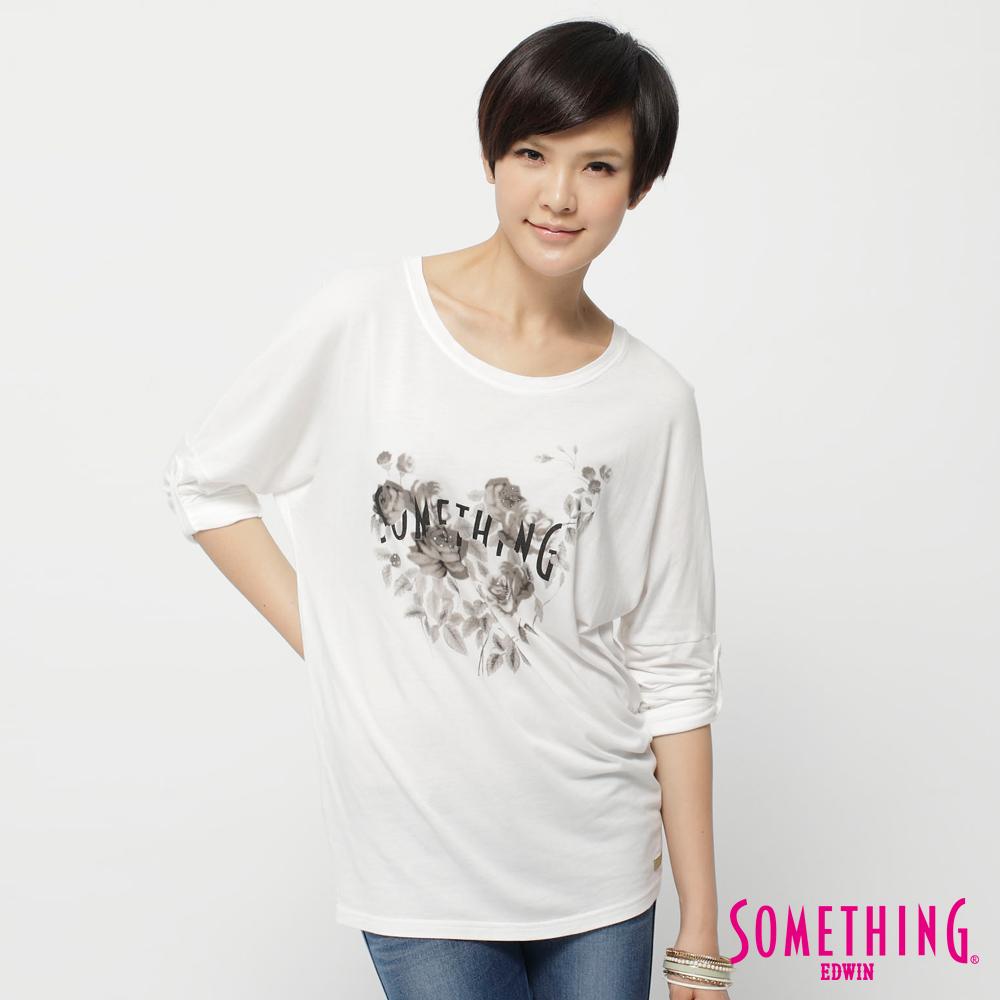 SOMETHING 恬靜美夢 花朵字體寬版T恤-女款(白色)