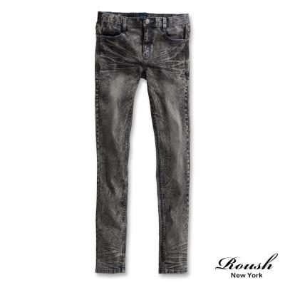 ROUSH-藍車線雪花刷痕黑色直筒單寧褲
