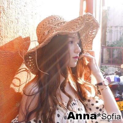 AnnaSofia 辮編圈邊綁帶 遮陽淑女帽草帽漁夫帽(駝系)