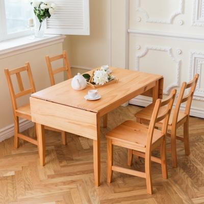 CiS自然行-雙邊延伸實木餐桌椅組一桌四椅74x166公分/柚木+原木椅墊
