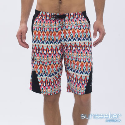 澳洲Sunseeker泳裝時尚男士快乾海灘衝浪褲-幾何紅