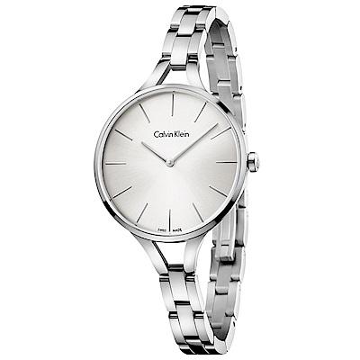 CK Calvin Klein graphic 閃亮的日子氣質腕錶  K7E23146 銀白