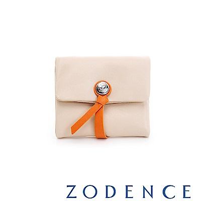 ZODENCE義大利羊皮柔軟繩扣設計短夾 淺杏