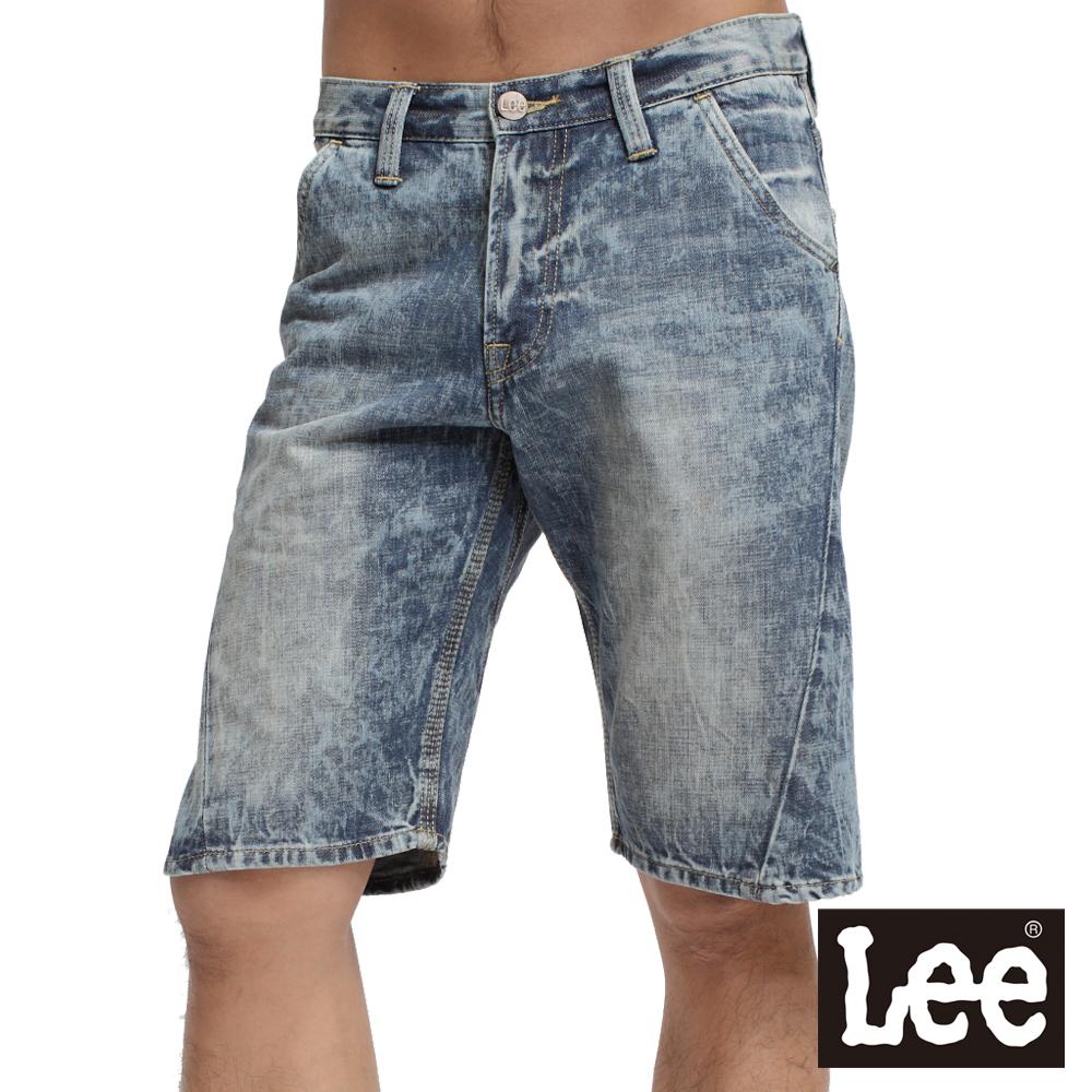 【Lee】617 牛仔短褲-男款(雪花藍)