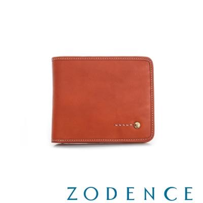 ZODENCE MAN 義大利植鞣革系列金LOGO設計兩折多卡層短夾 橘紅