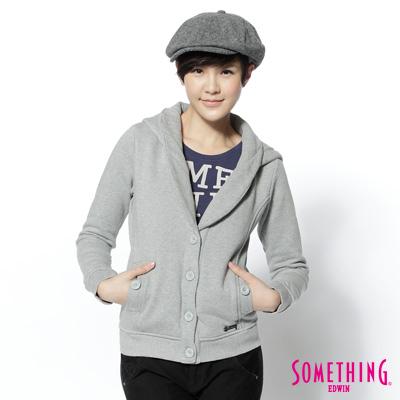 SOMETHING-知性休閒-連帽開襟西裝外套-女款-灰色