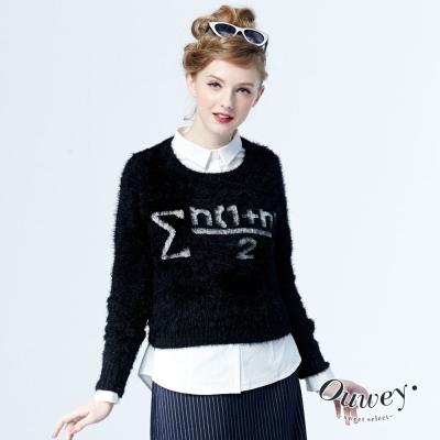 OUWEY歐薇-輕柔羽紗緹織短版毛衣-黑-紅