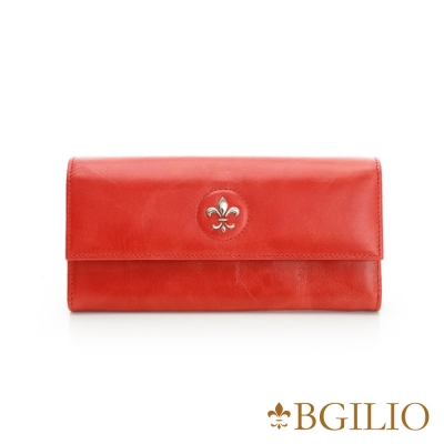 義大利BGilio - 蠟感裂紋牛皮扣式長夾-紅色 1944.324A-01