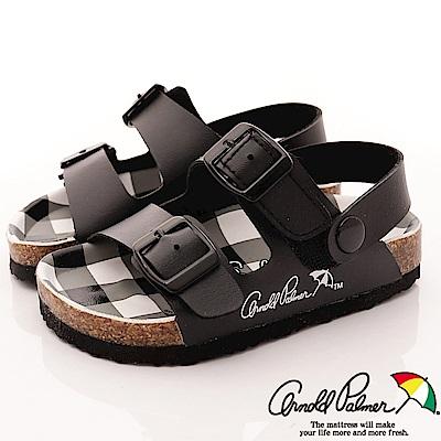 雨傘牌 休閒皮質涼鞋款 EI83803 黑 (中小童段)