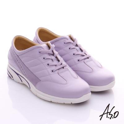 A.S.O 紓壓耐走 全真皮綁帶奈米休閒鞋 淺紫