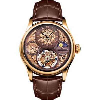 MEMORIGIN 萬希泉 風采系列陀飛輪腕錶-玫瑰金x咖啡/43mm