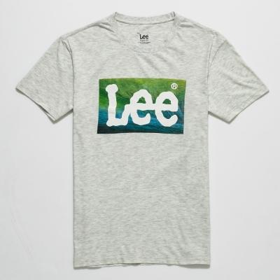 Lee 漸層LOGO印刷短袖T恤 男 麻灰色