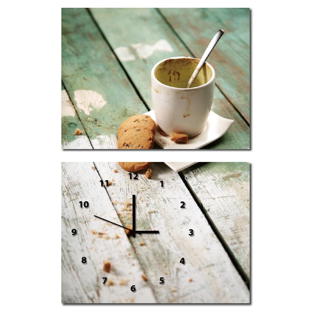 美學365-兩聯橫幅餐廳民宿蛋糕店掛飾時鐘無框畫掛畫-下午茶-40x30cm