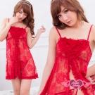 性感睡衣 玫瑰魅惑 蕾絲網紗連身睡衣(棗紅F) AngelHoney天使霓裳