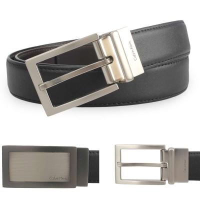 Calvin Klein 金屬線條雙釦雙色皮帶禮盒