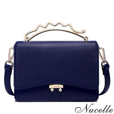 NUCELLE 溫妮莎髮夾造型手把小方包 夢境藍