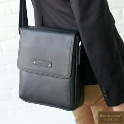 Roberta Colum - 時尚鉚釘軟牛皮超質感側肩背包-黑色