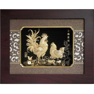 金箔畫 純金 金雞聚財  27 x 34 cm