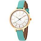 JOSERINEA 甜美佳人皮革時尚腕錶-綠/33mm