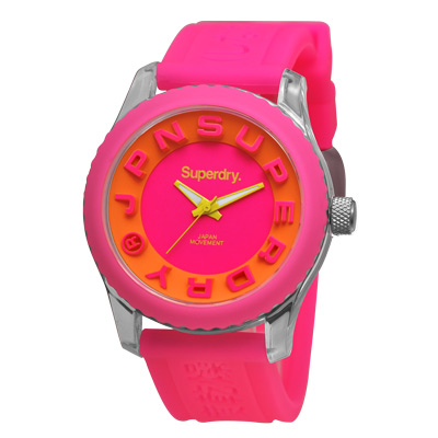 Superdry 極度乾燥 街頭俏皮 矽膠 運動腕錶-桃帶/桃面/38mm