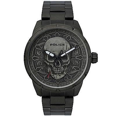 POLICE 骷髏頭個性時尚黑鋼手錶-鐵灰/46mm