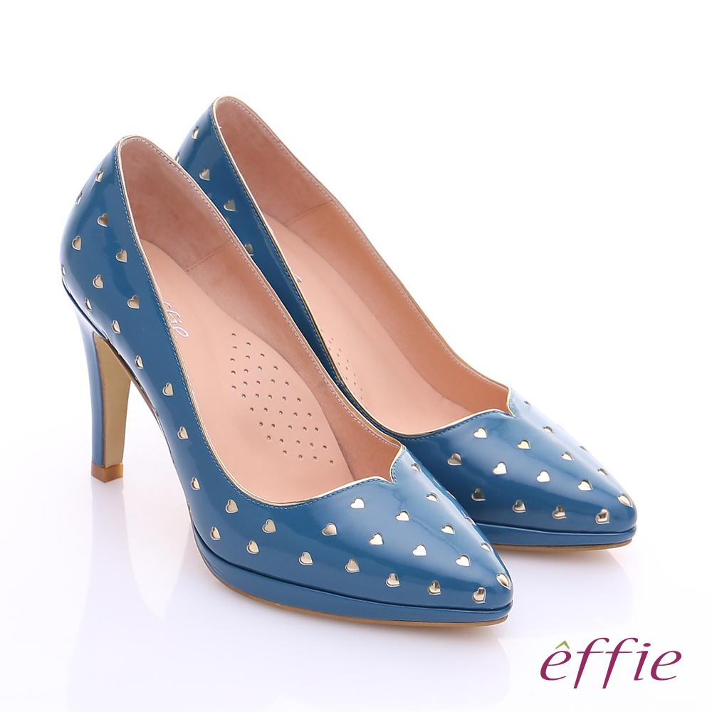 effie 摩登美型 鏡面牛皮金箔愛心窩心高跟鞋 藍