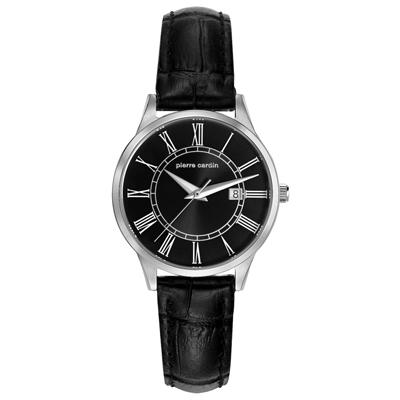 pierre cardin皮爾卡登   羅馬時刻時尚日期腕錶-銀框黑-小/30mm