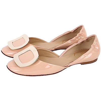 Roger Vivier Chips 金屬方釦漆皮芭蕾舞鞋(裸色)