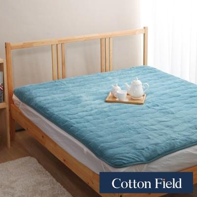 棉花田 暖暖 超細纖維雙人加大保暖墊-海藍色