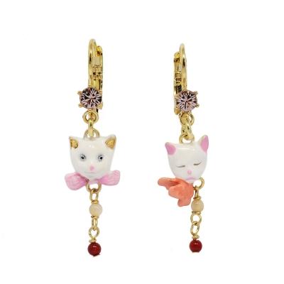 Les Nereides N2 貓咪系列 可愛小貓 寶石粉鑽小墜飾 金色耳環 法國