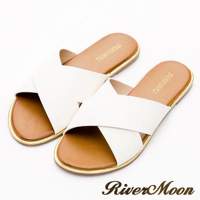 River&Moon加大尺碼-簡單素面寬版交叉飾金邊涼拖鞋-皮革白