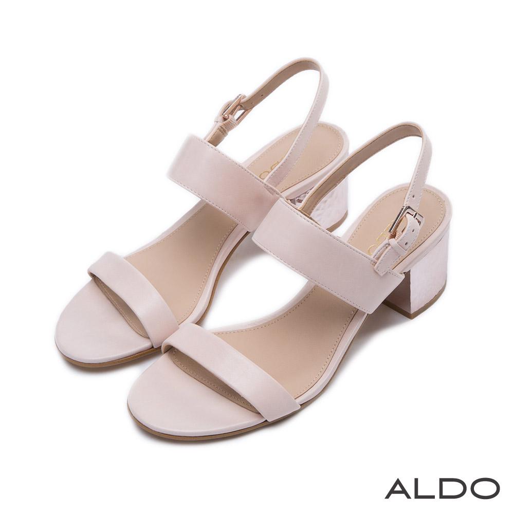 ALDO 原色真皮鞋面一字拉帶式涼鞋~輕柔粉色