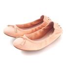 G.Ms. 輕旅行-全真皮單結蝴蝶結折疊豆豆鞋-蜜粉橘