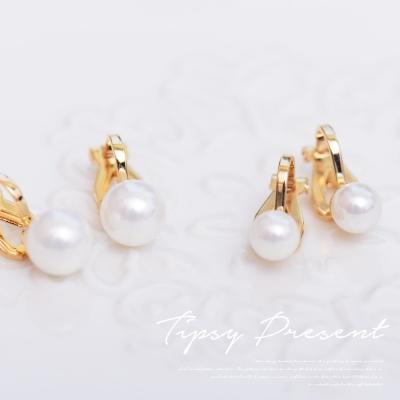 微醺禮物-人造珍珠-鍍K金-單顆珍珠-夾式-耳環