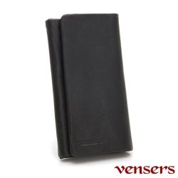 Vensers 小牛皮潮流個性皮夾~NB7600201黑色三折長夾