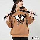 上衣保暖加厚刷毛帽T歐風明星同款法鬥潮T休閒寬鬆連帽衛衣T恤LIYO理優
