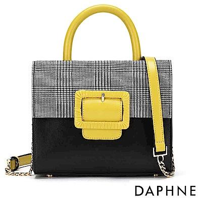 達芙妮DAPHNE-絨毛金屬鍊帶拼接手提側背兩用包-黑