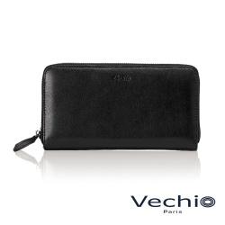 VECHIO - 紳士商務款素面8卡拉鍊長夾 - 撞色藍