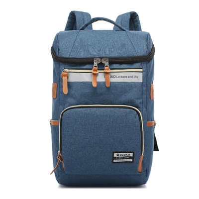 O.Z OZ1401 BU藍色 15.6吋韓版時尚尼龍後背筆電包