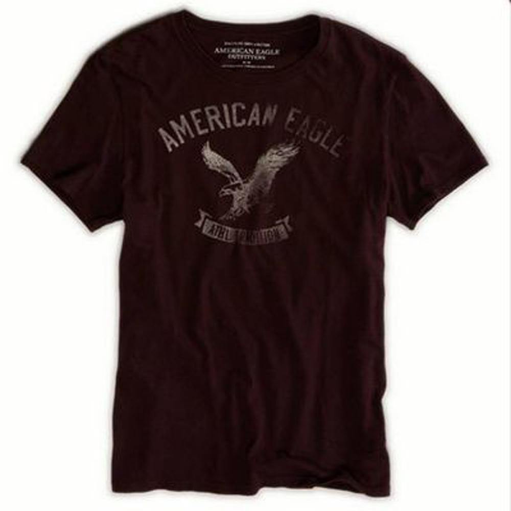 AE  男裝 現貨 仿舊印刷老鷹圖案短T恤(深紫色)