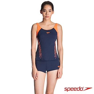 SPEEDO 女 運動兩截式平口泳裝 Boom Splice 藍橘