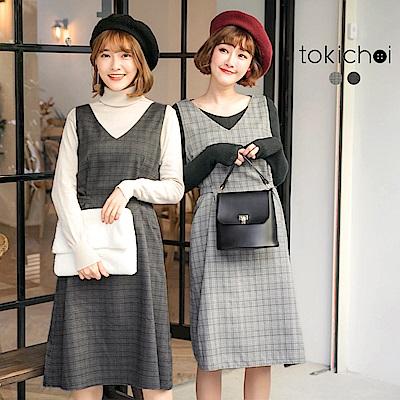 東京著衣 輕甜女孩格紋修身綁帶洋裝-S.M(共二色)