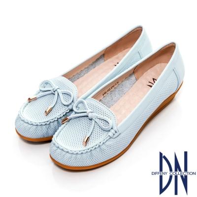 DN 通勤首選 減壓全真皮蝴蝶結楔型包鞋 藍