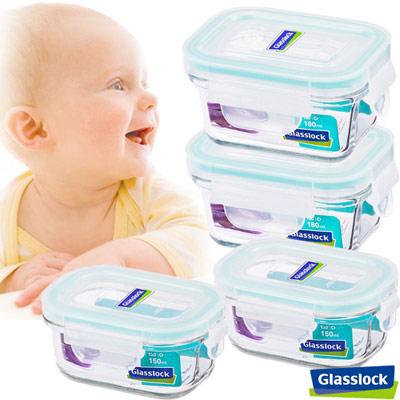 【baby專用】Glasslock寶寶副食品專用微波保鮮盒- 長方形四入組