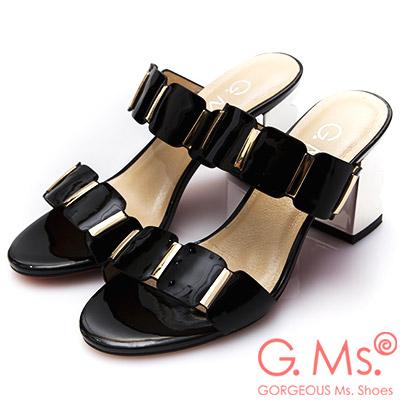G.Ms.漆皮金色飾釦波浪高跟涼拖鞋-黑色