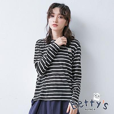 betty's貝蒂思 簡約條紋刺繡上衣(黑色)