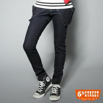 5th STREET焦點風貌寬口袋窄直筒牛仔褲-女款-原藍色