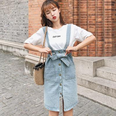 單排扣高腰牛仔吊帶裙 (藍色)-Kugi Girl