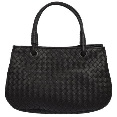 BOTTEGA VENETA 經典手工編織小羊皮手提三層仕女包.黑