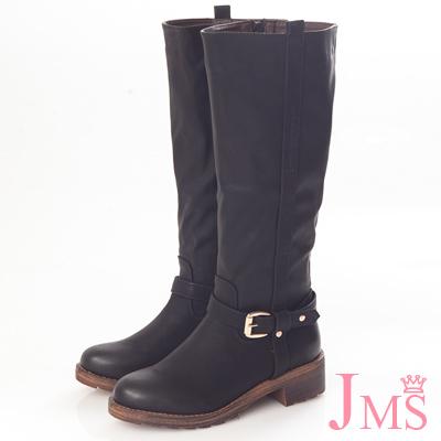 ☆JMS☆騎士風金屬十字扣拉鍊長靴-黑